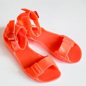 Hunter Orange Ankle Strap Jelly Rain Sandals